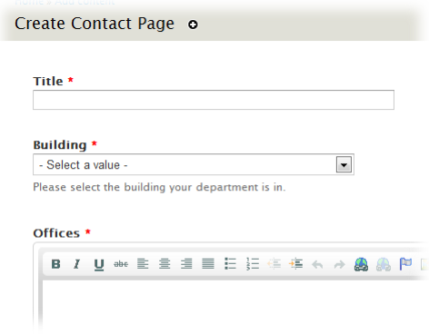Screenshot of create a contact page