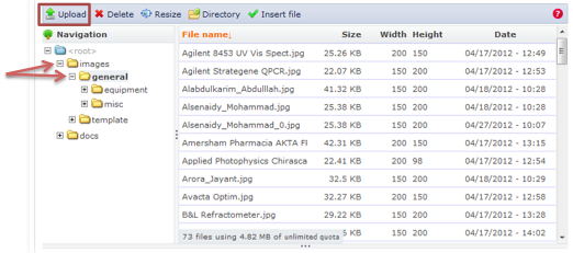 Screenshot of IMCE file browser