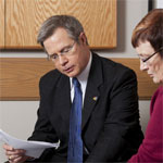 Provost Vitter and Mabel Rice discussing strategic planning